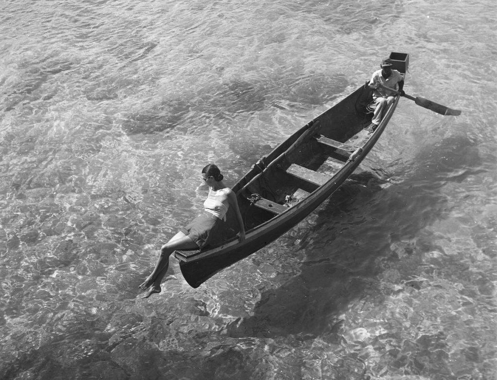 Model on a canoe, Montego Bay, Jamaica (Nov. 1946), c/o Library of Congress