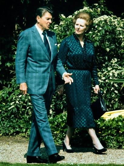 President Ronald Reagan, with British Prime Minister Margaret Thatcher; photo co Details Magazine