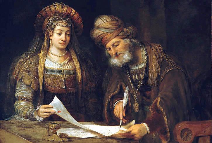 """""""Esther and Mordechai,"""" oil on canvas, 1675. Museo Nacional de Bellas Artes, Buenos Aires, Argentina."""