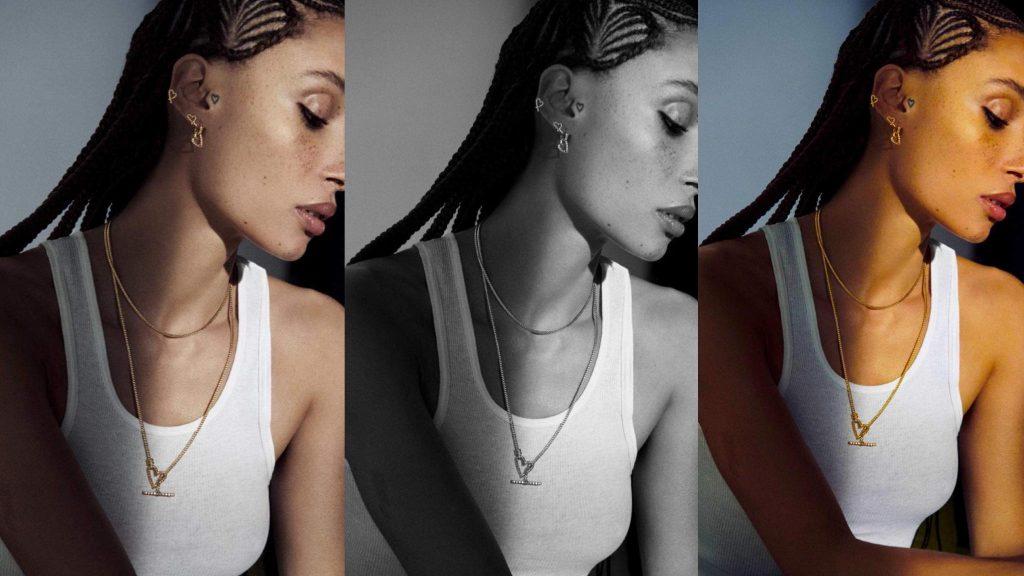 Model Adwoa Aboah - (1) Original, (2) Desaturation, (3) Complete Saturation; photo c/o Forbes Magazine