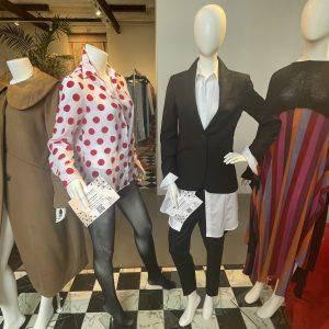 (l-r) Adaptive blouse, Nancy Connor; tuxedo suit, Victoria Wright; © Manic Metallic 2021