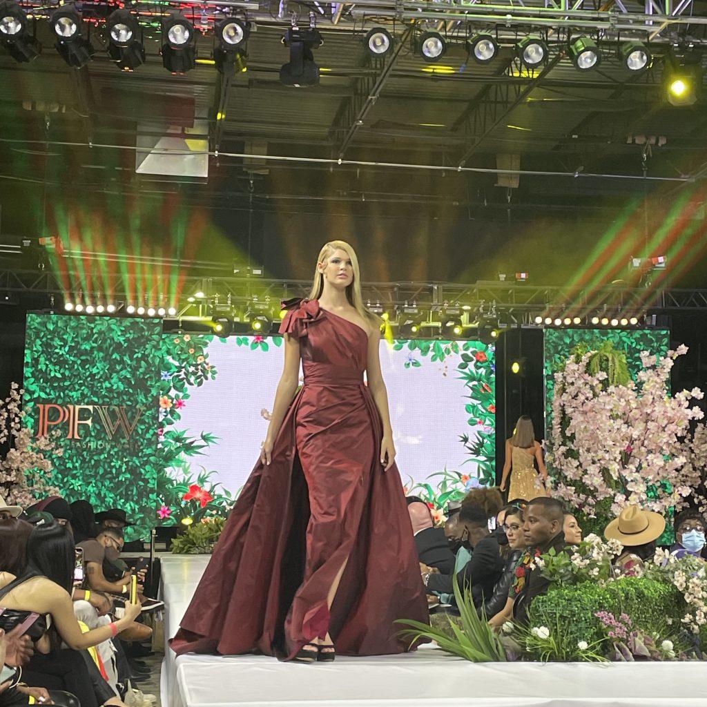 A model walks for fashion brand Ahmad Essa Haute Couture; photo © Manic Metallic 2021