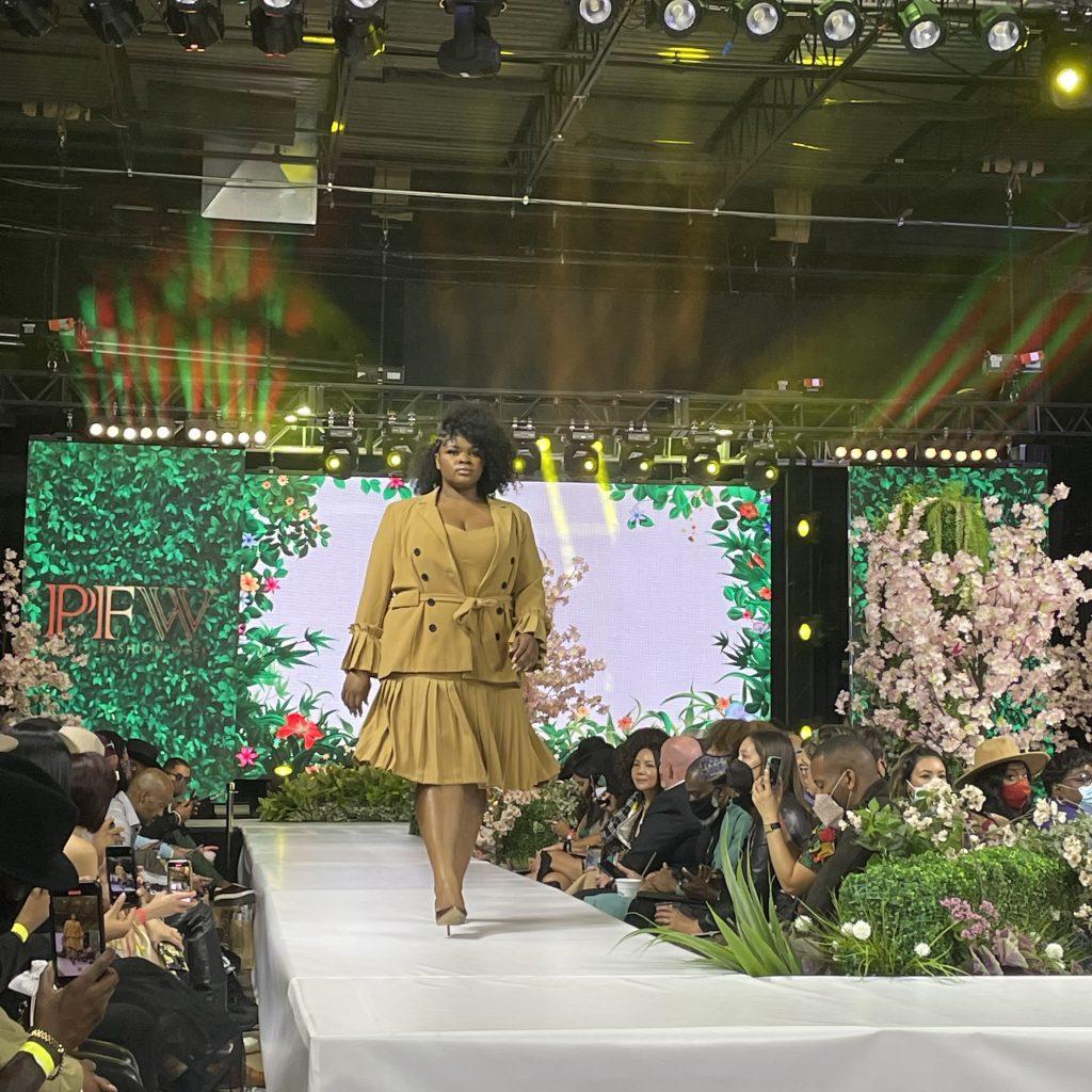 A model walks for fashion brand J. Pratt; photo © Manic Metallic 2021
