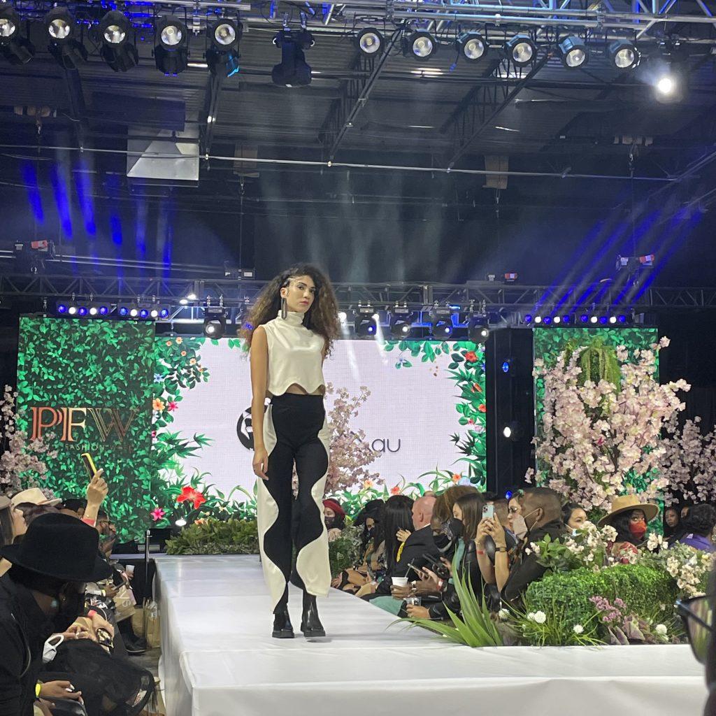 A model walks for Philadelphia fashion brand Lobo Mau; photo © Manic Metallic 2021